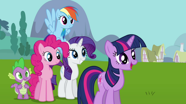 File:Twilight and her friends look at the Elements S03E10.png