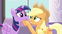 Applejack cheering up Twilight S4E01