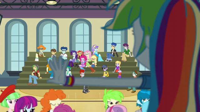 File:Pinkie Pie interrupts Rainbow's speech EG3.png