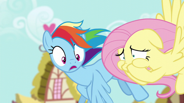 File:Fluttershy covering her mouth; Rainbow in shock S6E11.png