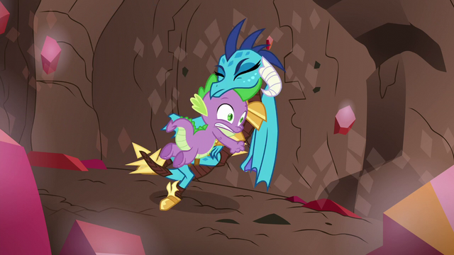 File:Spike pushes Ember out of the way S6E5.png