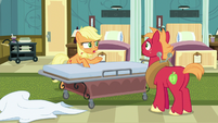 Applejack tells Big Mac to lie on the gurney S6E23