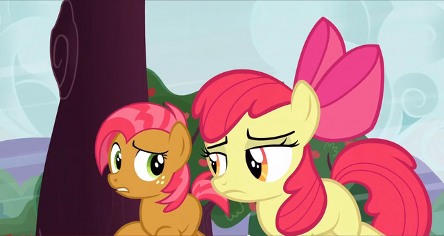File:Babs and Apple Bloom running around a tree S3E8.png