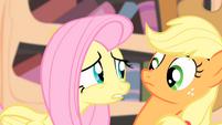 Fluttershy looks at Applejack S4E07