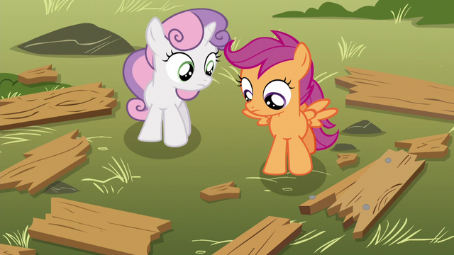 File:Scootaloo and Sweetie looking at splintered wood S5E4.png