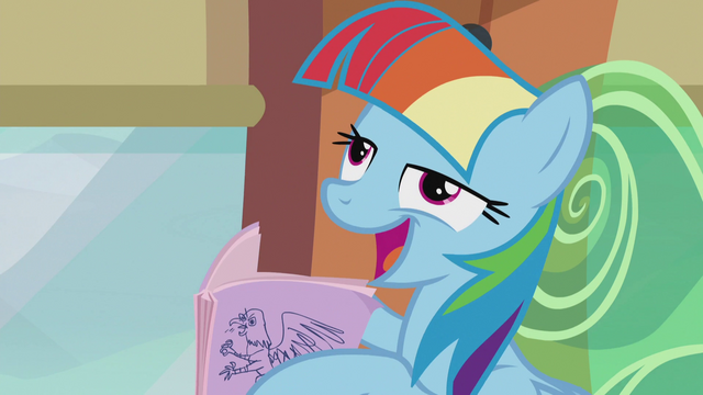"File:Rainbow imitating Twilight ""as long as you share the wealth"" S5E8.png"