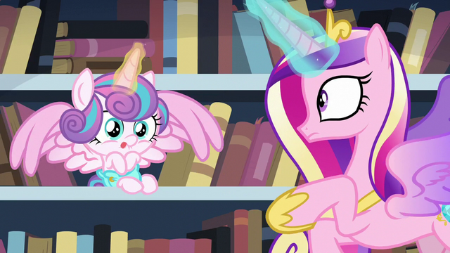 File:Cadance sees Flurry Heart on the bookshelf S6E2.png