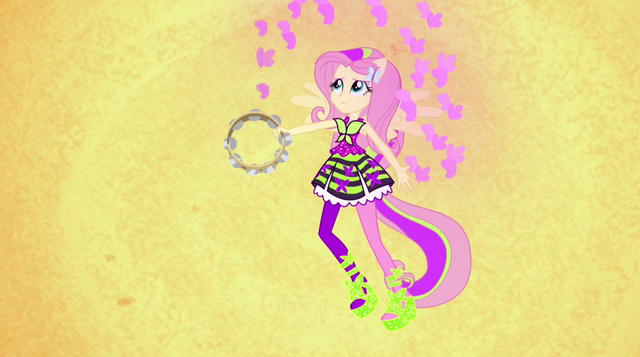 File:Fluttershy conjuring butterflies with tambourine EG2.png