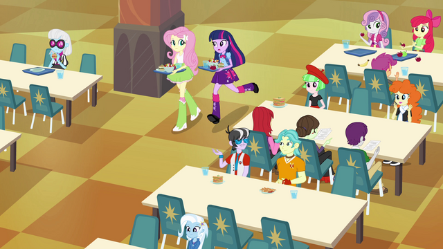 File:Twilight and Fluttershy walking in the cafeteria EG.png