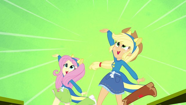 File:Applejack and Fluttershy on a green splashscreen EG.png