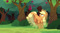Applejack kicking the apple in slow motion S6E18