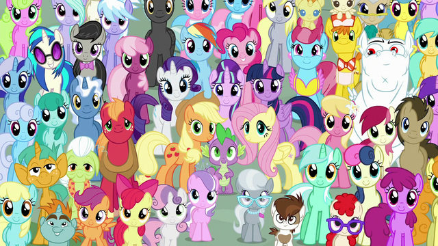 File:Mane Six and ponies final crowd shot S5E26.png