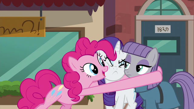 File:Pinkie Pie hugs Maud and Rarity S6E3.png