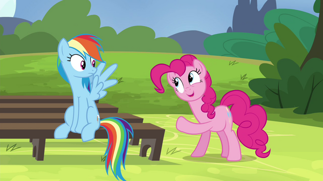 File:Pinkie Pie pointing at Rainbow S4E21.png