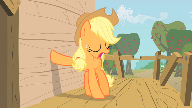 File:Applejack places her hoof on the tree-house's wall S1E18.png