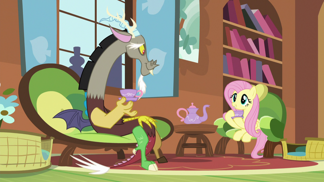 File:Discord and Fluttershy having Tuesday tea S5E7.png