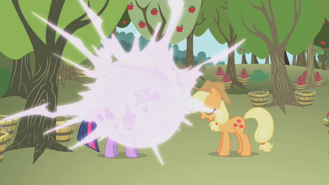 File:Twilight teleports in front of Applejack S1E04.png