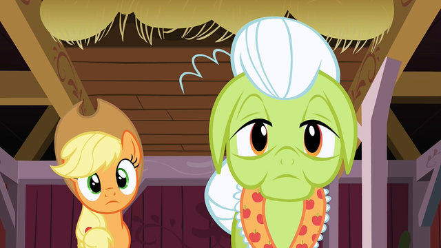 File:Applejack and Granny Smith hearing Apple Bloom S3E08.png