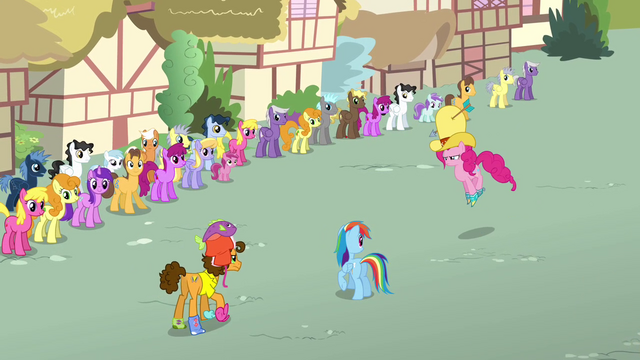 File:Pinkie Pie and Cheese about to goof off S4E12.png