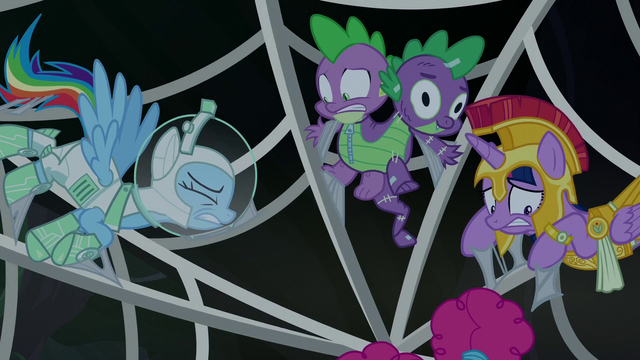 File:RD, Spike, and Twilight stuck in spider web S5E21.png