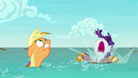 Applejack and Rarity emerge from the water S6E22