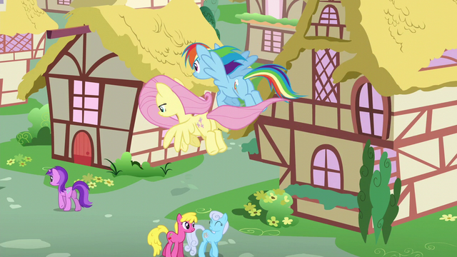 File:Fluttershy and Rainbow return to Ponyville S6E11.png