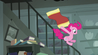 Pinkie Pie sliding down railing S4E04