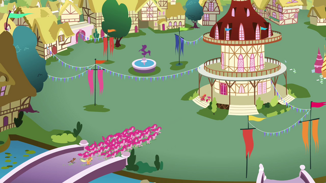 File:Pinkies swarming Ponyville S3E3.png