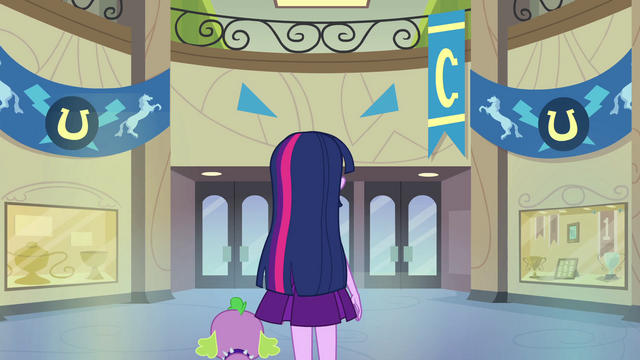 File:Twilight and Spike in empty hallway EG.png
