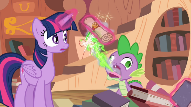 File:Spike burps out a letter from Celestia S4E03.png