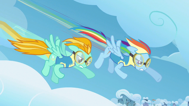File:Rainbow Dash & Lightning Dust creating drag S3E7.png