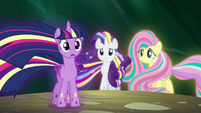 Twilight, Rarity and Fluttershy in their Rainbow Power forms S4E26