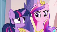 Twilight and Cadance smiling S03E12