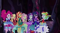 Rainbow Dash appears holding a pizza EG4