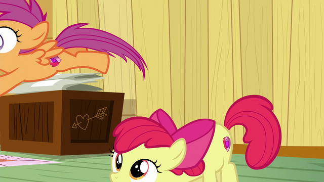File:Scootaloo jumps away from Apple Bloom S6E4.png