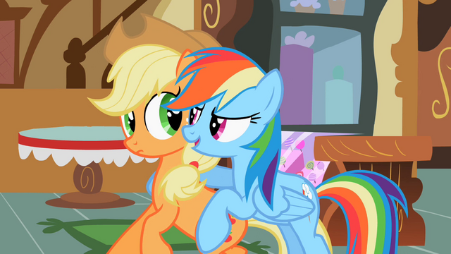 File:Applejack And Rainbow Dash immortalized S2E08.png