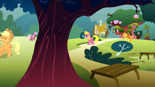 File:Ponies picking up branches S1E8.png
