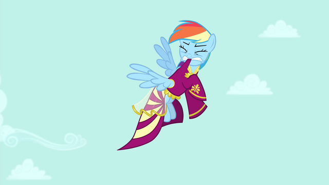 File:Rainbow Dash trying to pull dress off S4E23.png