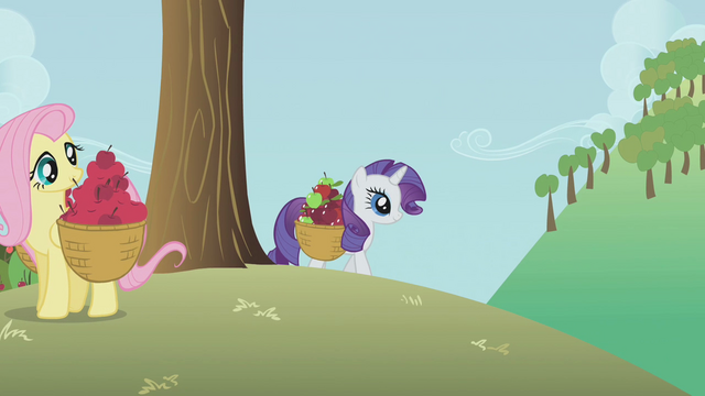 File:Rarity and Fluttershy gathering apples S1E4.png