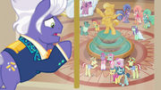 Flim, Flam, and performers look up at Gladmane S6E20
