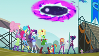 Main six and Twilight look at rift to Equestria EG3