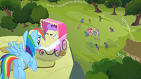 Rainbow Dash sees ponies cheering S2E08