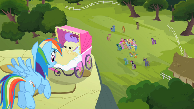File:Rainbow Dash sees ponies cheering S2E08.png