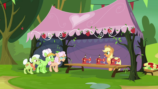 File:Applejack unveils new sewing machines S3E8.png