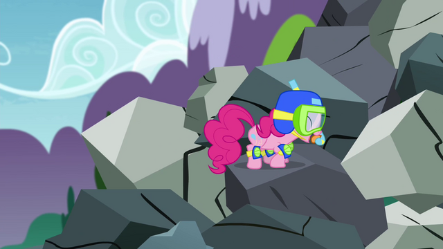 File:Pinkie Pie climbing mountain of rocks S4E18.png