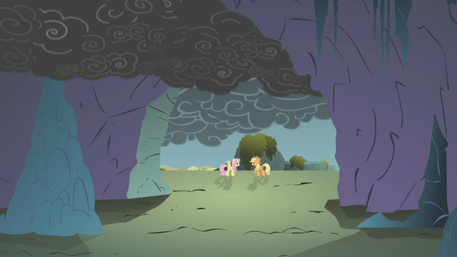 File:Applejack and Fluttershy outside the cave S1E07.png