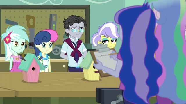 File:Lyra, Sweetie Drops, Jet Set, and Upper Crust's birdhouses EG3.png