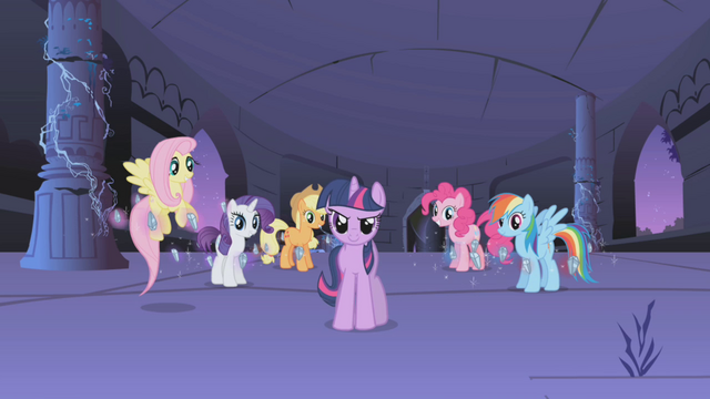 """File:Twilight calls the other ponies """"my friends!"""" S1E02.png"""