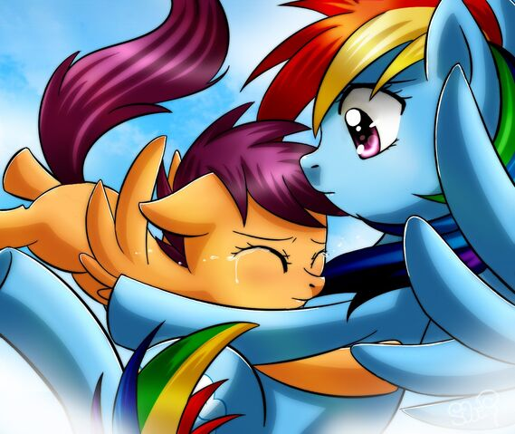 File:FANMADE Scootaloo hugging Rainbow Dash.jpg