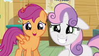Scootaloo and Sweetie happy for Apple Bloom S5E4